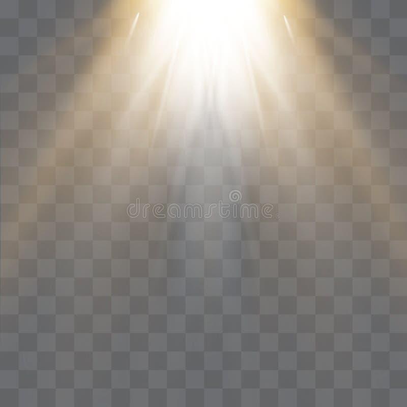 Efeito da luz especial do alargamento da lente da luz solar transparente do vetor Teste padrão abstrato do Natal Partículas de po ilustração do vetor