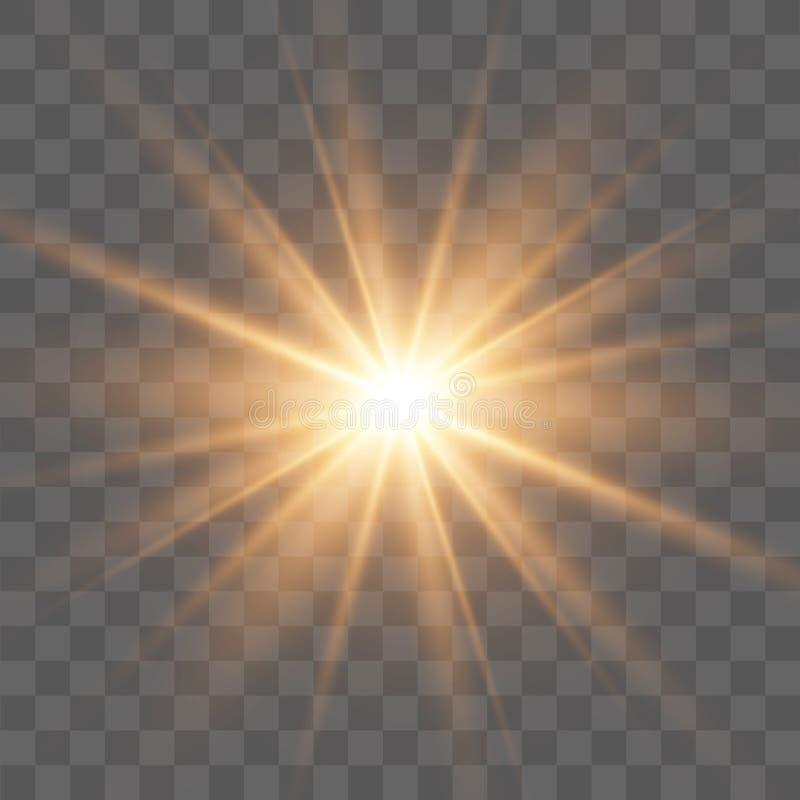 Efeito da luz especial do brilho branco das faíscas O vetor sparkles no fundo transparente Efeito especial do alargamento claro I ilustração royalty free