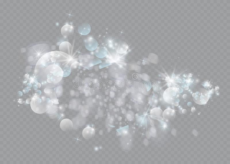 Efeito da luz especial do brilho branco das faíscas O vetor sparkles no fundo transparente Teste padrão abstrato do Natal ilustração do vetor