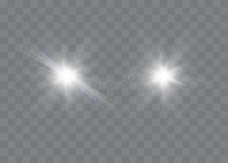 Efeito da luz especial do brilho branco das faíscas O vetor sparkles no fundo transparente Teste padrão abstrato do Natal Mágica  ilustração stock
