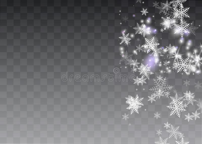 Efeito da luz especial do brilho branco das faíscas O vetor sparkles no fundo transparente Teste padrão abstrato do Natal Mágica  ilustração royalty free