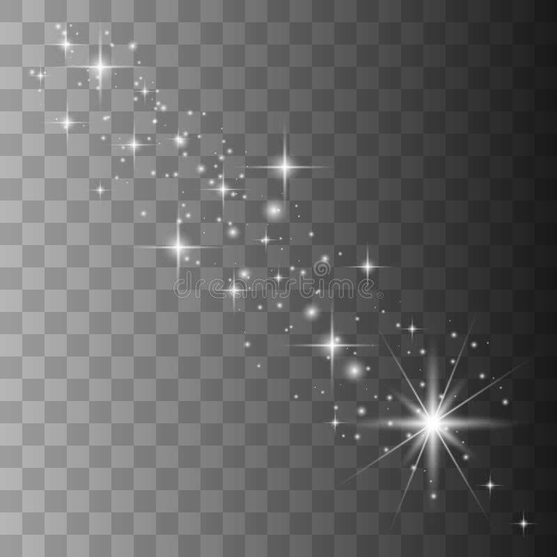 Efeito da luz especial do brilho branco das fa?scas ilustração royalty free