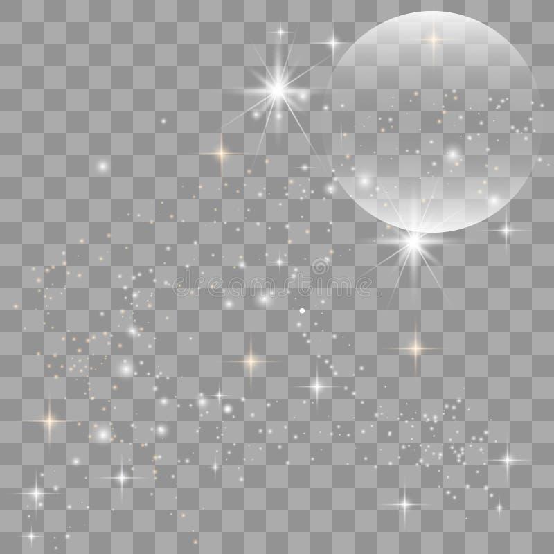 Efeito da luz especial do brilho branco das fa?scas ilustração stock