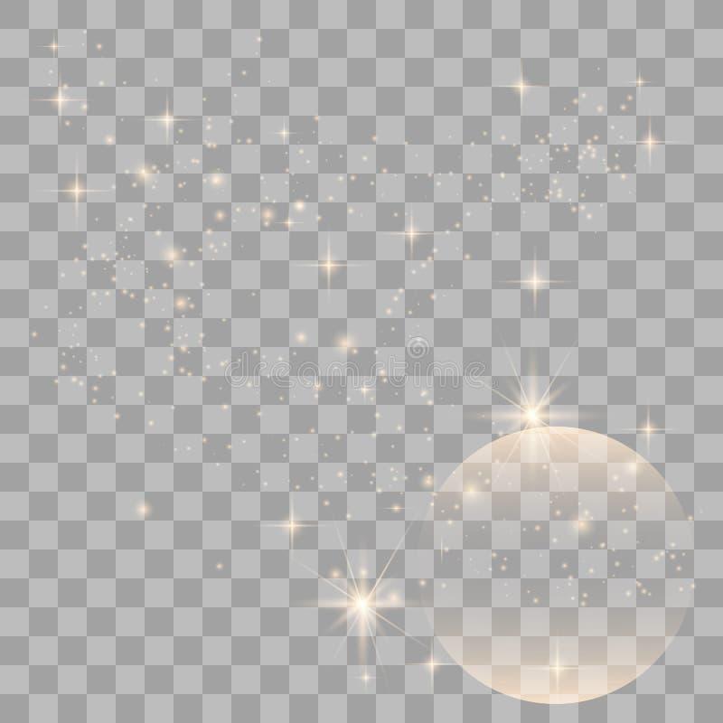 Efeito da luz especial do brilho branco das fa?scas ilustração do vetor