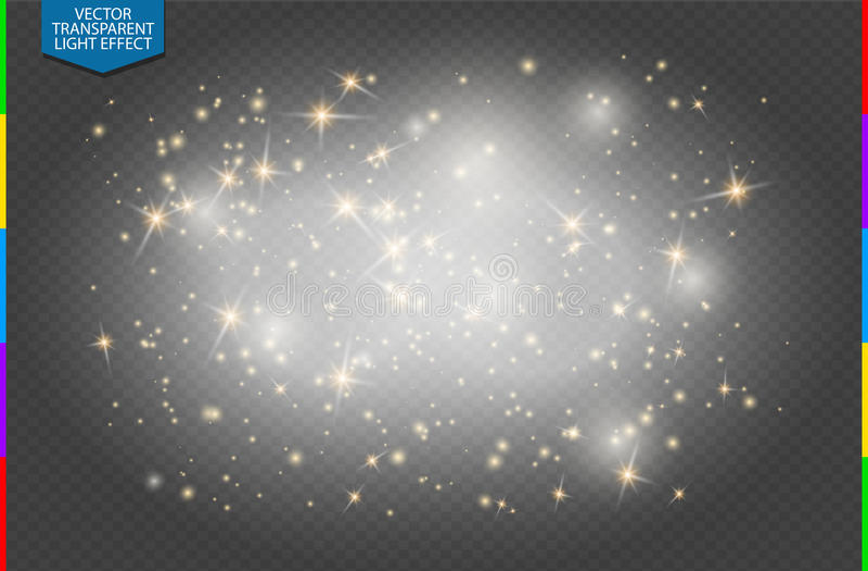Efeito da luz especial do brilho dourado branco Semitransparent das estrelas das faíscas O vetor sparkles fundo transparente ilustração stock