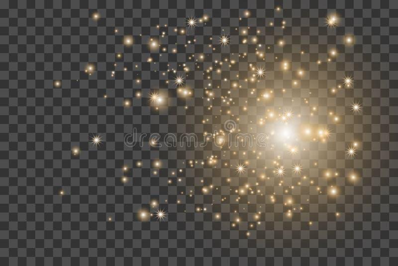 Efeito da luz Explosão da estrela com Sparkles Textura do brilho do ouro EPS10 ilustração do vetor