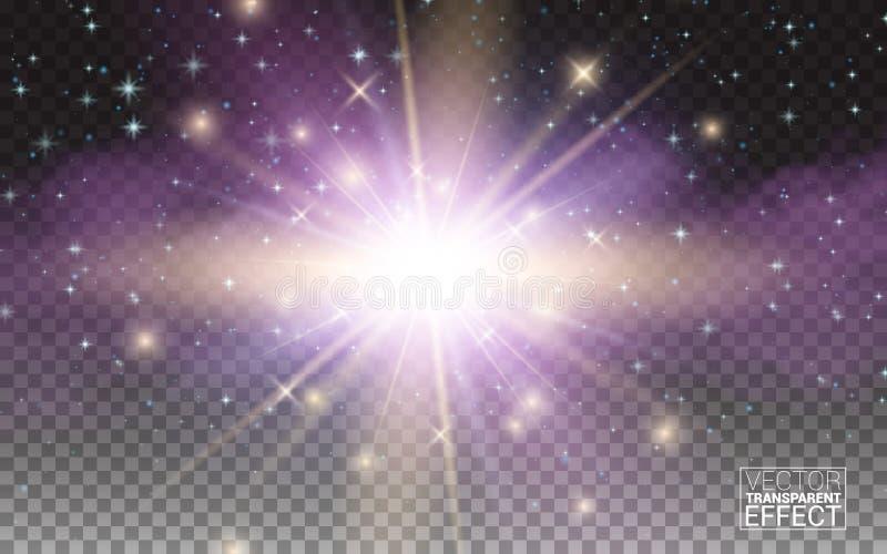 Efeito da luz mágico do fulgor transparente Explosão da estrela com Sparkles Elementos realísticos do projeto Ilustração do vetor ilustração stock