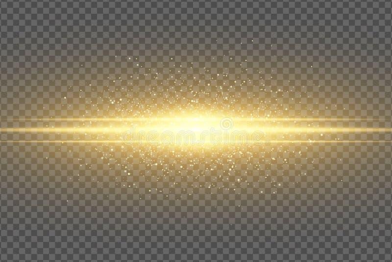 Efeito da luz ? moda m?gico abstrato em um fundo transparente Flash dourado Poeira de voo luminosa que vislumbra o voo das partíc ilustração stock