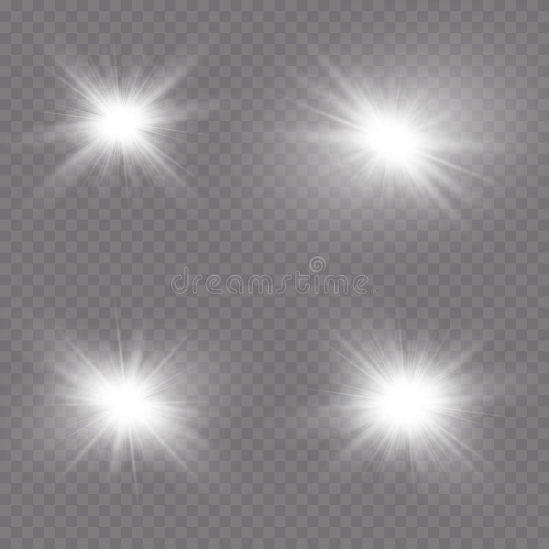 Efeito da luz transparente do alargamento da lente da luz solar Explosão da estrela com Sparkles Ilustração do vetor ilustração royalty free