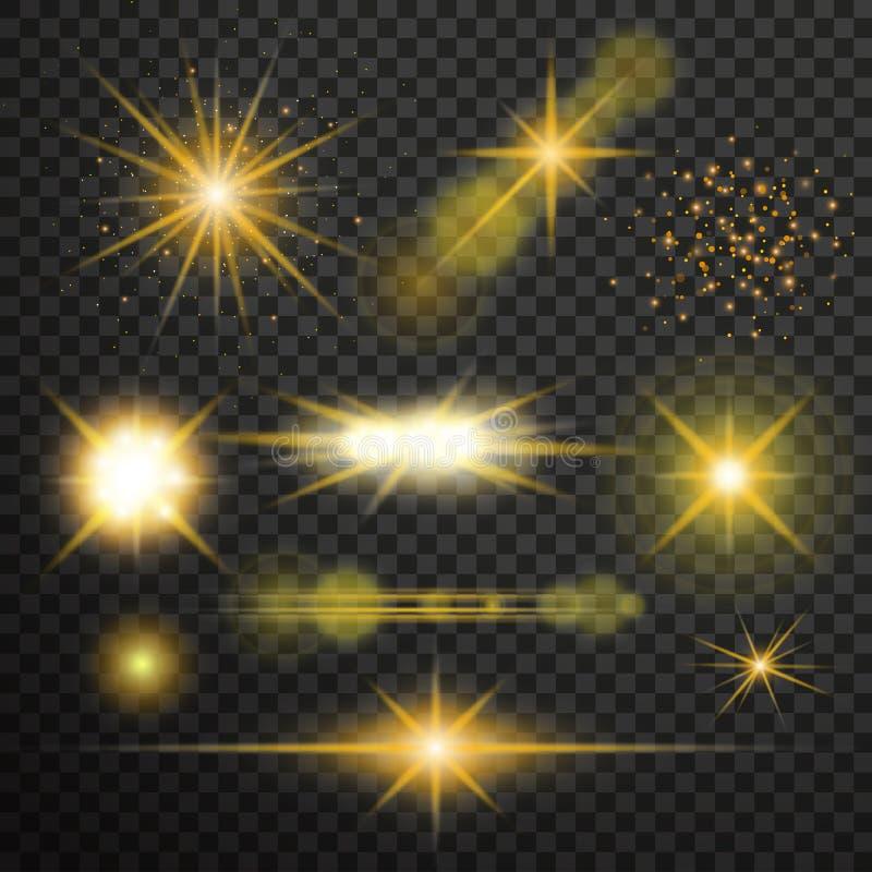 Efeito da luz transparente do fulgor Explosão da estrela com Sparkles ilustração stock