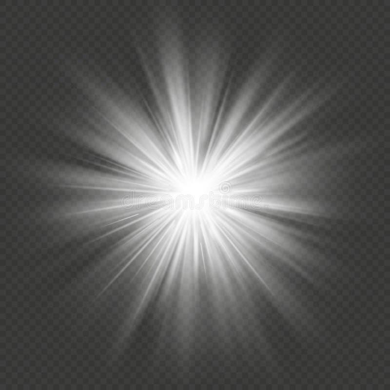 Efeito da luz transparente da explosão do alargamento da explosão da estrela do fulgor branco Eps 10 ilustração royalty free