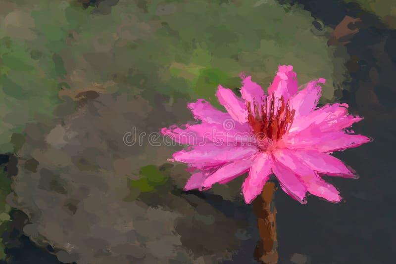 Efeito da pintura a óleo do lírio de água fotografia de stock royalty free