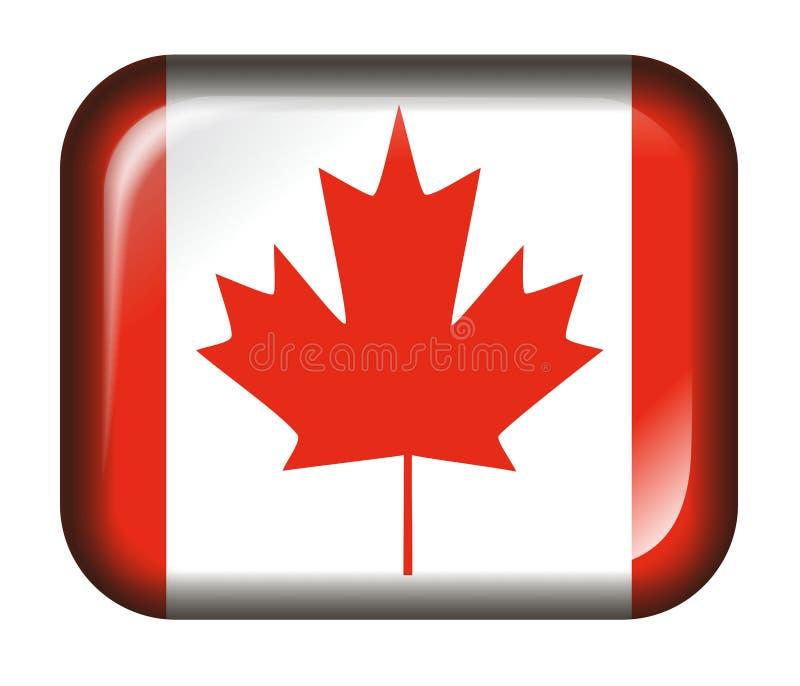 Efeito da tecla 3d da bandeira de Canadá isolado no branco ilustração stock