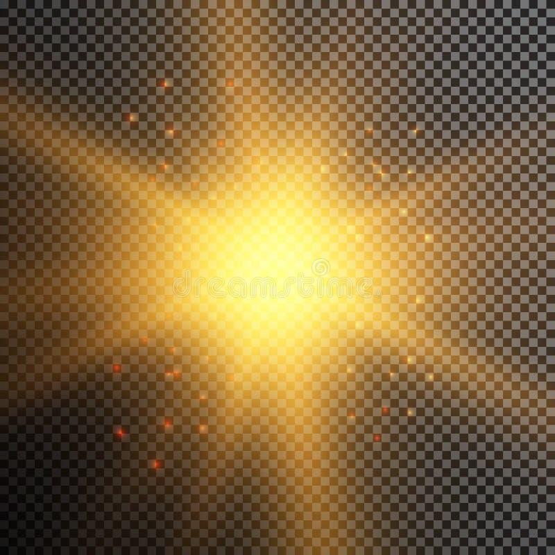 Efeito das luzes de incandescência, alargamento, explosão e estrelas Efeito especial isolado no fundo transparente ilustração stock