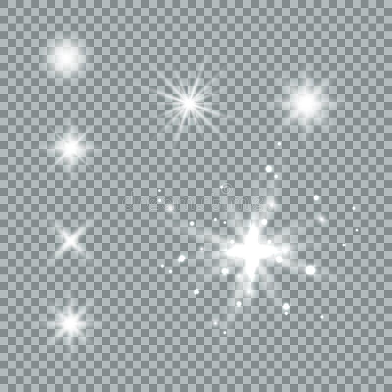 Efeito das luzes de incandesc?ncia, alargamento, explos?o e estrelas Efeito especial isolado no fundo transparente ilustração royalty free