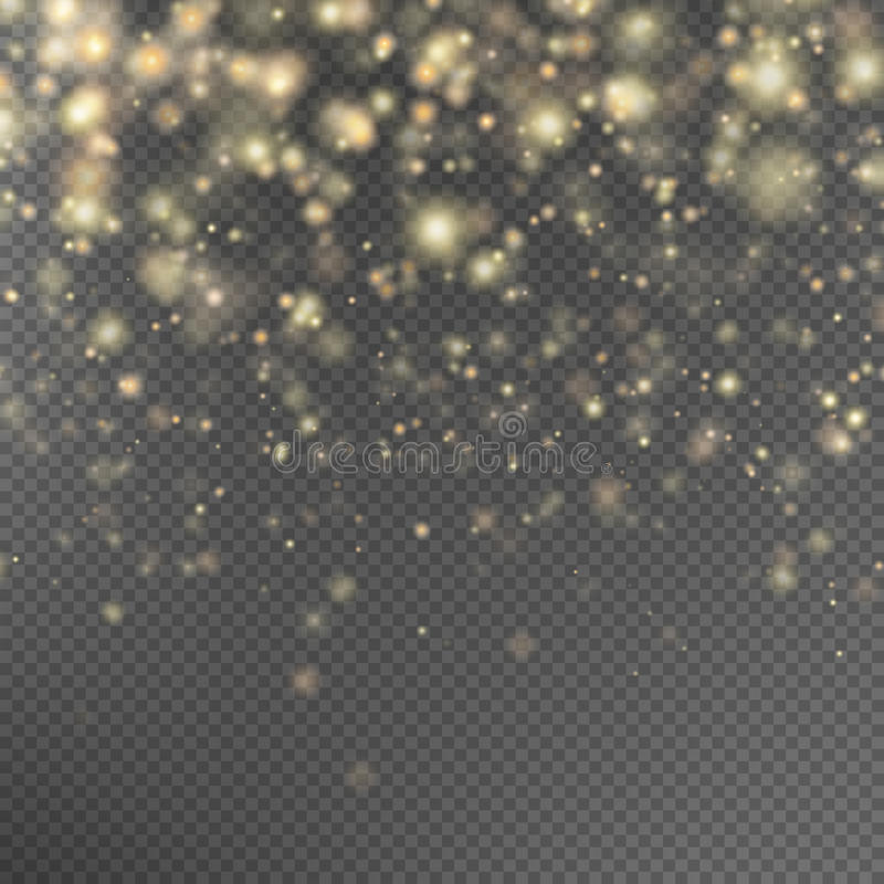 Efeito das partículas do brilho do ouro Eps 10 ilustração do vetor