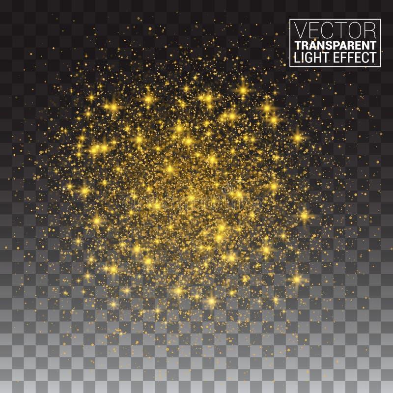 Efeito das partículas do brilho Estrela de brilho do espaço do ouro ilustração stock