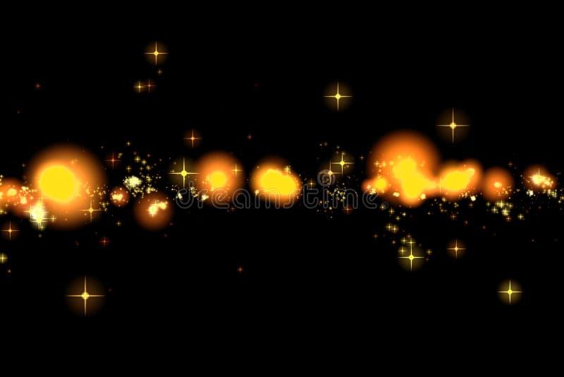 Efeito de brilho da explosão da faísca da transição da cauda do bokeh das estrelas do fulgor do ouro no fundo preto, ano novo fel ilustração do vetor