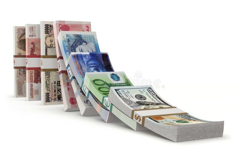 Efeito de dominó com dinheiro ilustração stock