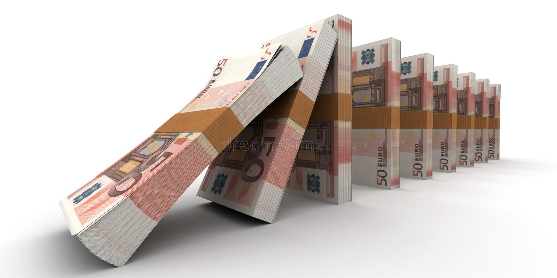 Efeito de dominó financeiro ilustração royalty free