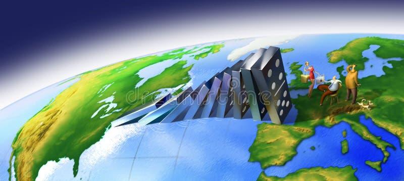 Efeito de dominó global ilustração do vetor
