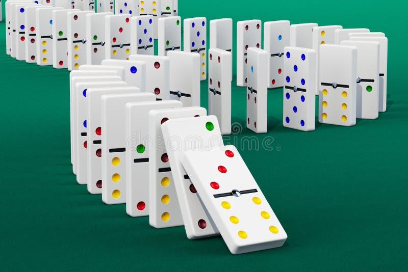 Efeito de dominó, rendição 3D ilustração royalty free