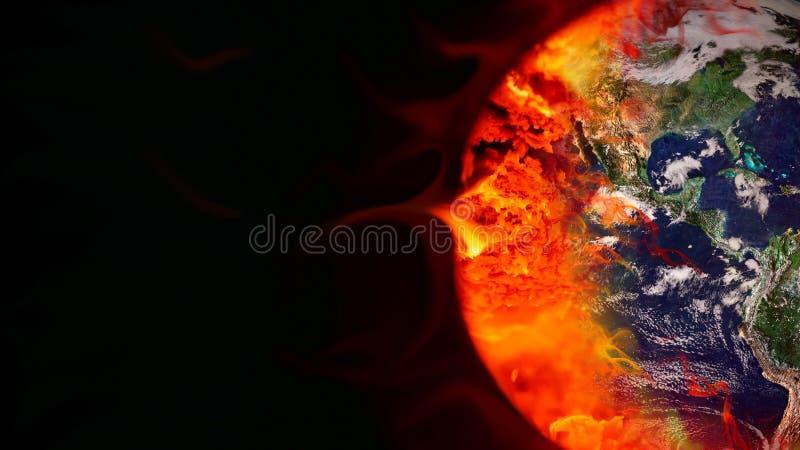 Efeito de estufa Terra queimada por combustíveis fósseis ilustração do vetor