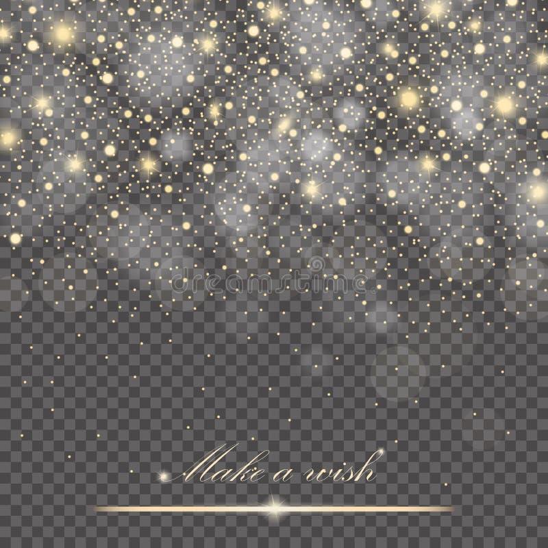 Efeito de fundo das partículas do brilho do ouro do vetor para o cartão luxuoso dos ricos do cumprimento Textura efervescente ilustração stock