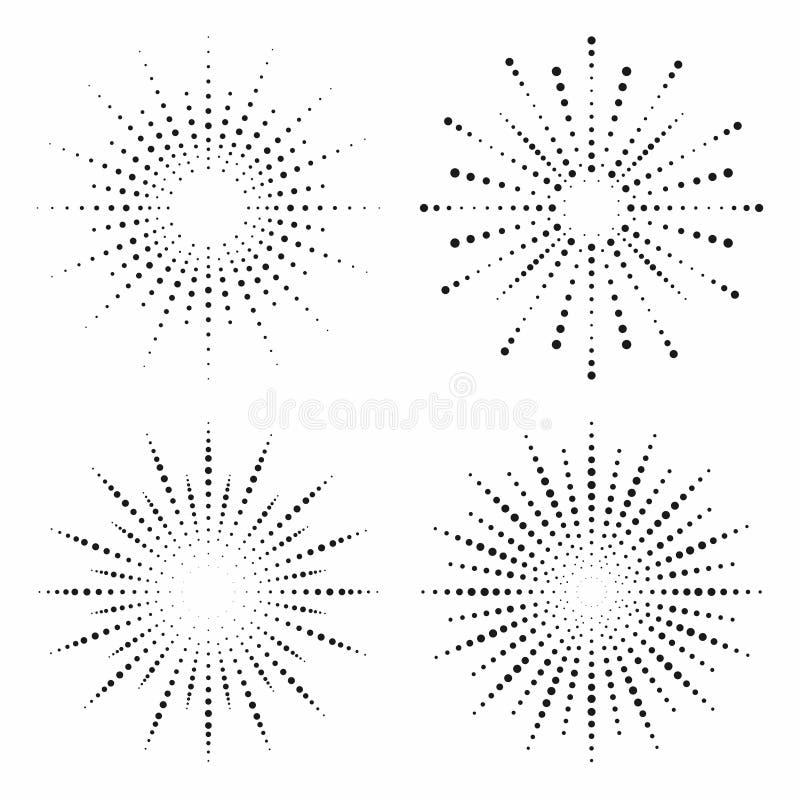 Efeito de intervalo mínimo Raios pontilhados do sol ajustados Coleção do fundo do sunburst do vintage ilustração do vetor