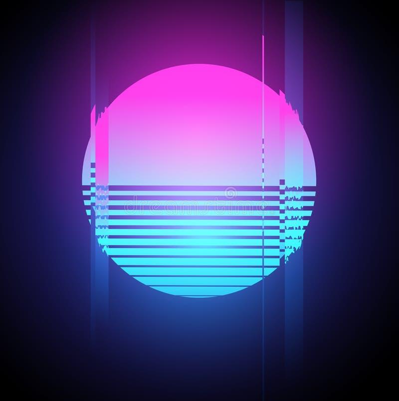Efeito de néon do pulso aleatório de Sun ilustração stock