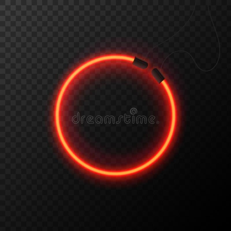 Efeito de néon de incandescência Círculo abstrato de brilho Conceito do clube noturno ou da barra no fundo escuro Vetor editável  ilustração do vetor