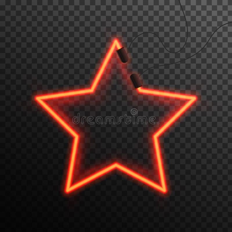 Efeito de néon de incandescência Estrela ou poliedro abstrato de brilho Conceito do clube noturno ou da barra no fundo escuro Vet ilustração royalty free