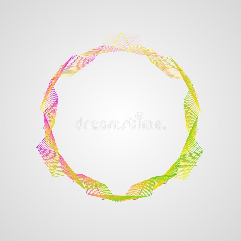 Efeito de néon quadro brilhante ondulado do círculo do inclinação Elemento estilizado do guilloche ilustração royalty free