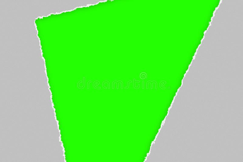 Efeito de papel rasgado cinzento na tela do verde da chave do croma foto de stock royalty free