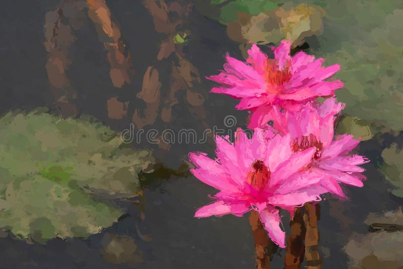 Efeito de pintura do lírio de água imagens de stock