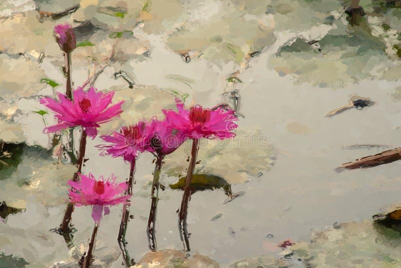 Efeito de pintura do lírio de água foto de stock royalty free