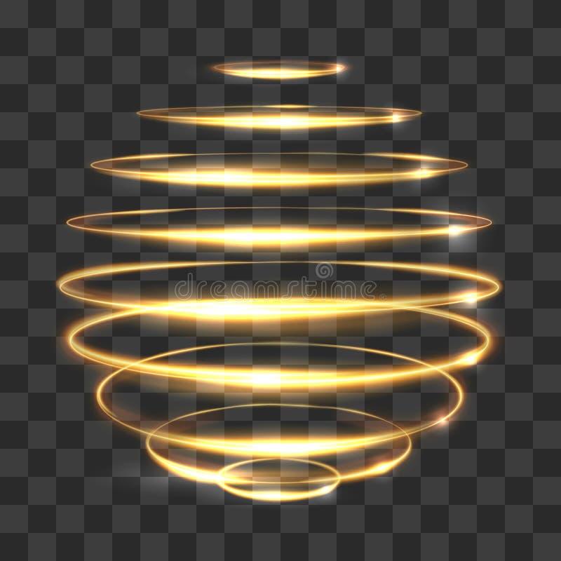 Efeito de seguimento claro do círculo do ouro, esfera 3d mágica de incandescência no fundo transparente ilustração stock