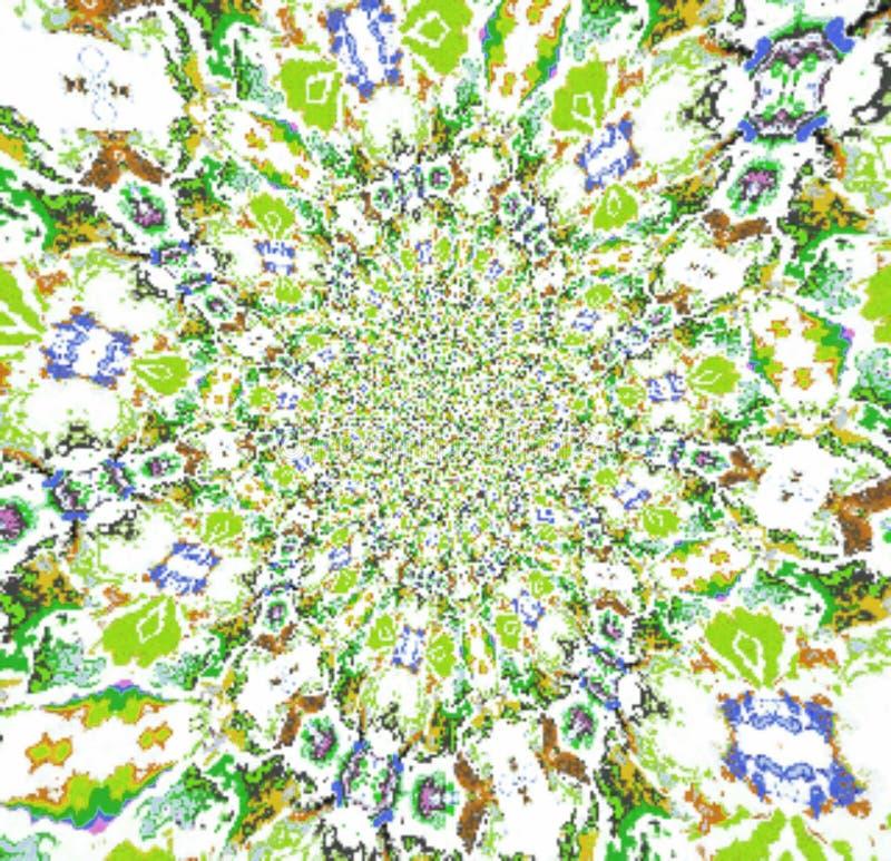 Efeito decorativo calidoscópico do borrão do fractal do teste padrão da aquarela ilustração stock