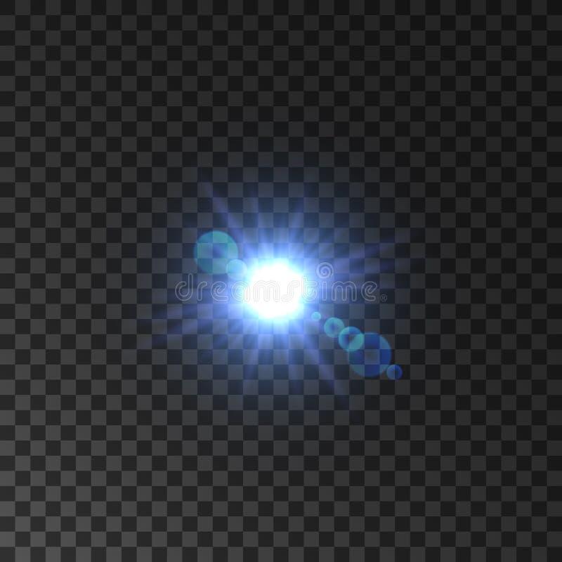 Efeito do alargamento da lente de brilhar a luz da estrela ilustração royalty free