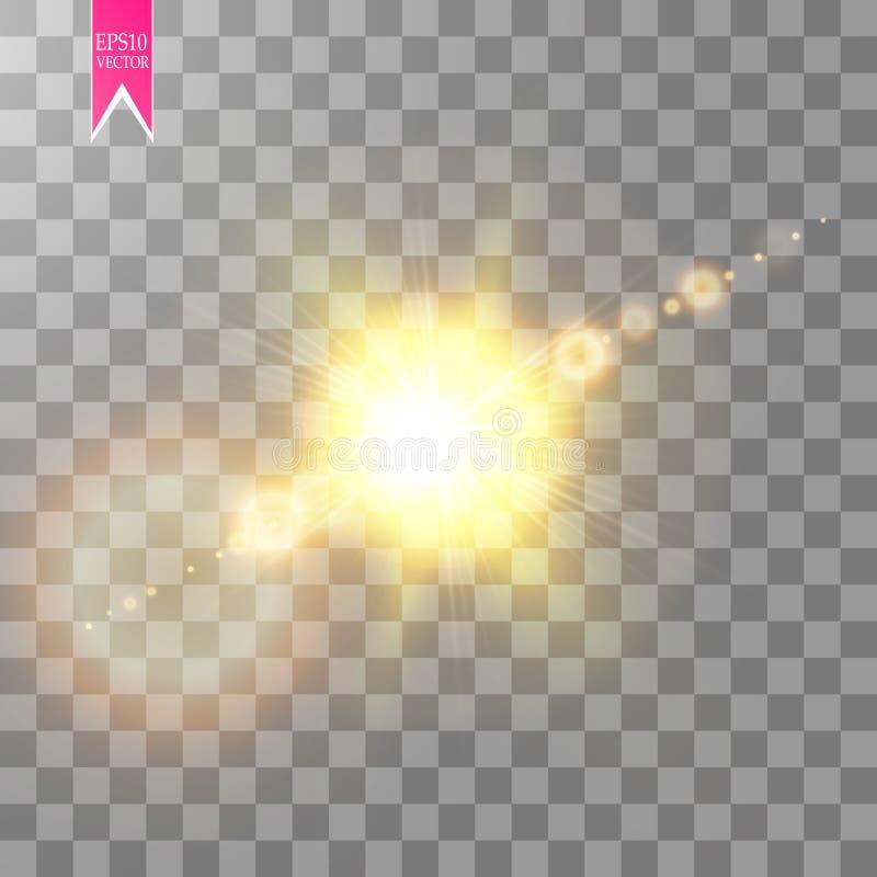 Efeito do alargamento da lente isolado no fundo transparente Ilustração da lanterna elétrica do fulgor dourado Luzes do vetor ilustração royalty free