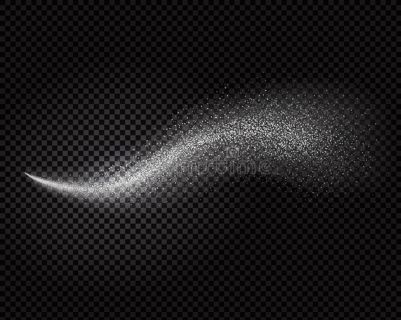 Efeito do pulverizador de água, névoa branca cosmética ou vetor do aerossol do refrogerador no fundo transparente ilustração stock