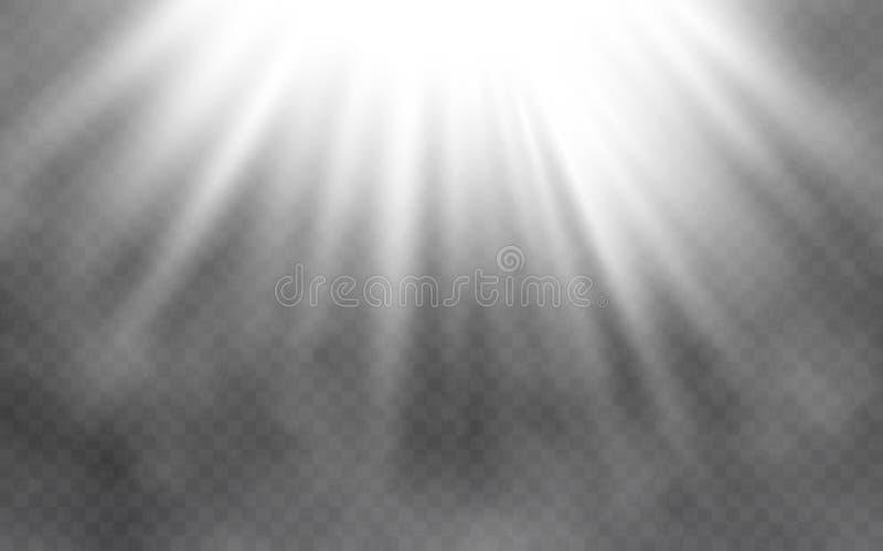 Efeito e fumo da luz no fundo transparente Iluminação brilhante abstrata Conceito claro criativo Ilustração do vetor ilustração do vetor