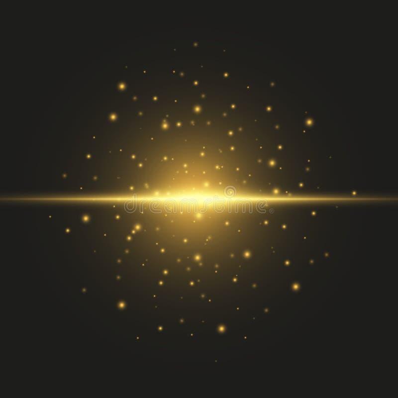Efeito especial do alargamento claro Ilustração O vetor sparkles no fundo preto Efeito especial do alargamento claro As luzes de  ilustração stock