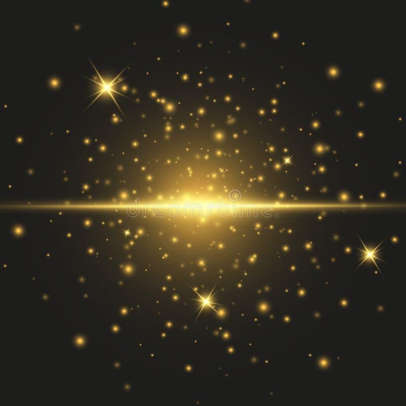 Efeito especial do alargamento claro Ilustração O vetor sparkles no fundo preto Efeito especial do alargamento claro As luzes de  ilustração royalty free