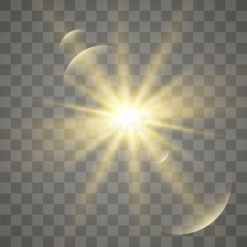 Efeito especial do alargamento claro Ilustração O vetor sparkles no fundo transparente Efeito especial do alargamento claro ilustração royalty free