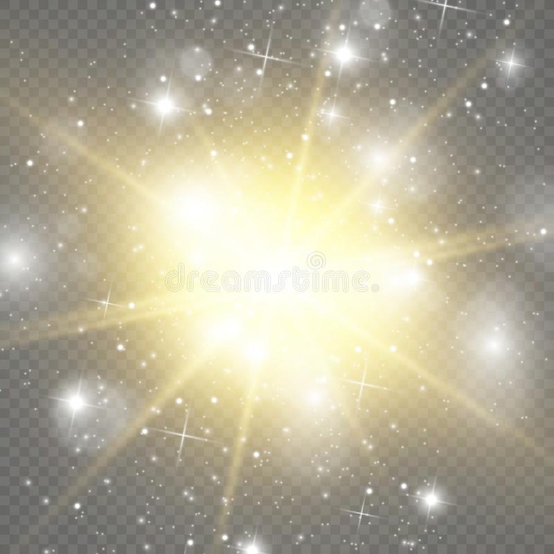 Efeito especial do alargamento claro do ouro Ilustra??o ilustração stock