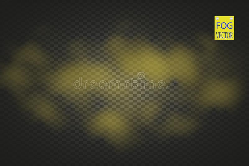 Efeito especial transparente do fumo dourado Opacidade amarela do vetor, névoa ou fundo da poluição atmosférica Ilustração do vet ilustração do vetor