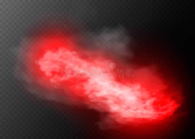 Efeito especial transparente vermelho da cor da névoa ou do fumo Opacidade branca do vetor, fundo da poluição atmosférica da névo ilustração royalty free
