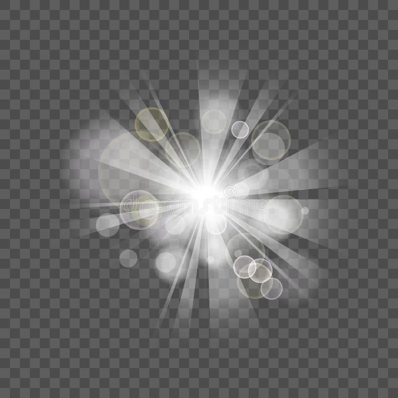 Efeito flare do boque festivo, branco-claro, sobre o fundo de transparência ilustração do vetor