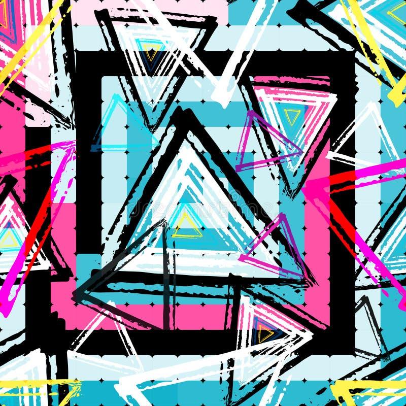 Efeito geométrico abstrato do grunge dos grafittis dos objetos ilustração royalty free